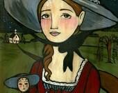 11x14 PRINT Cecily folk art girl with doll americana