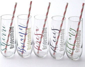Wedding Party Favors, Bridesmaids Champagne Glasses,  Personalized Champagne Flutes, Wedding Party Gifts, Gifts for Bridesmaids