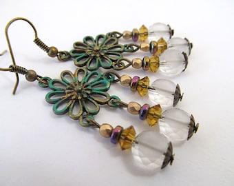Vintage Brass Hippie Earrings, Daisy Earrings, Glass Bead Dangles, Verdigris Earrings