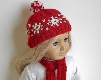"""18 Inchl Doll Clothes Hat and Scarf Set in Red with White Snowflakes Handmade to fit the American Girl and Other 18"""" Dolls  Optional Mittens"""