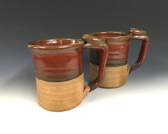 large red mugs, handmade pottery, beer stein, ready to ship