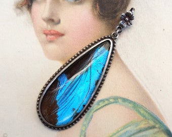 Vintage Pendant Sterling Morpho Butterfly Jewelry England