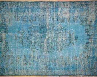 "Carpet Rug Overdyed Vintage Light Turquoise Blue 6'8"" x 9'8"""