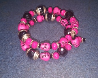 PINK SKULLS Memory Wire Bracelet One Size Fits All