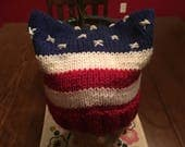 American flag cat ears pussy hat protest march patriotic 4th of July ready to ship march for truth red white blue beanie knitted