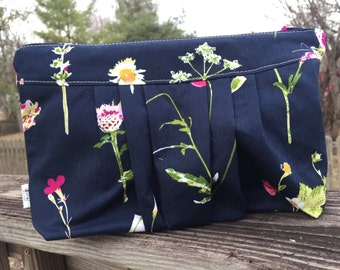 Navy flower petals zippered cosmetic pouch