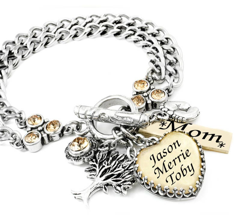 Mothers Charm Bracelet: Mothers Bracelet Childrens Name Jewelry Mom Charm Bracelet