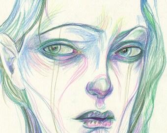 Glum Girl I (original drawing)