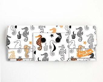 Vinyl Long Wallet - Seahorses/ vegan, pretty, large wallet, clutch, card case, vinyl wallet, handmade, ocean, sea, orange, polka dot