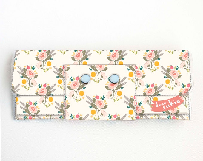 Vinyl Long Wallet - Flora Bouquet / floral, pink, vegan, pretty, large wallet, clutch, card case, vinyl wallet, big, woman, yellow, summer