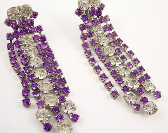 Long Rhinestone Clip Earrings