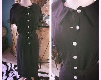 Vintage 1950s Dress navy blue 1960s S M secretary rockabilly pinup 50s 60s