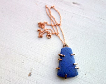 Denim Blue Lapis Pendant in 14k Rose Gold-filled Prongs and Gold-Filled Chain