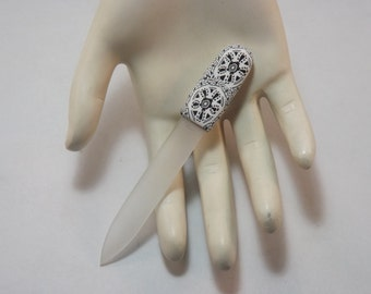 Crystal Glass Nail File Handcrafted Polymer Clay Covered Purse Size Black and White