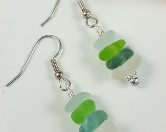 Sea Glass Jewelry Sea Glass Earrings Green Sea Glass E-200