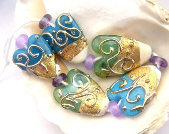 5 Golden Heart Beads and 6 Spacers Handmade Lampwork