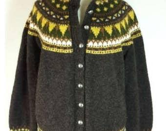 Vintage Husfliden Oslo Nordic wool CARDIGAN SWEATER Hand knit Chunky brown