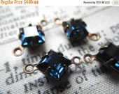 ON SALE 18% Off Montana Sapphire Vintage Swarovski Square 6x6mm Glass Brass Ox Connector Drops Two Loops 6 Pcs