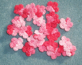 24 handmade shaded pink crochet applique flowers  -- 2564