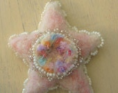 Handmade Wool Beaded Star Ornament- Romantic Pink- Cottage Home Decor- Unique Valentines Day Gift