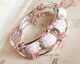 Silver Memory Wire Bracelet, Pink Glass, Handmade Jewelry