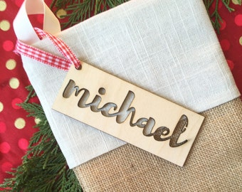Burlap Christmas Stocking - Cream and Red detail - Free monogramming