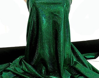 Mystique Spandex Sparkly Jewels Black/Green Stretch fabric.... cheer bows... dance skate gymnastics twirl  pageant  BTY
