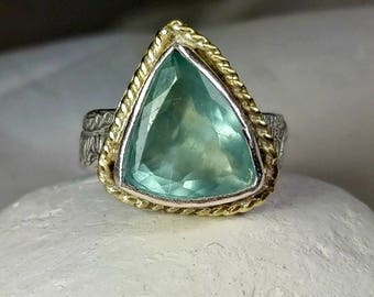 Aquamarine Statement Ring, Solitaire Ring,  18 kt yellow  gold , silver  and Stone ring, Aquamarine silver and gold ring, March birthstone