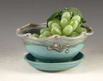 Small handmade Berry Bowl in turquoise - handmade stoneware by Hodaka Pottery