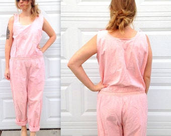 1990's Pink Overalls Jumpsuit Romper in Large XL Plus Size . Sleeveless Pockets Hip Hop Tall . Busty . Pale 90s 80s 1980s