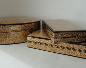 Gold Filigree & Dots 3pc Lacquered Paper Mache Nesting Box Set Oval Trinket Cigar Box Exotic Kashmir India Handpainted Hostess Gift Keepsake