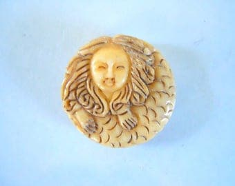 Carved Bone Mermaid Focal Bead