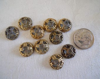 10 Vintage Brass Ox Bead Cap 12 mm