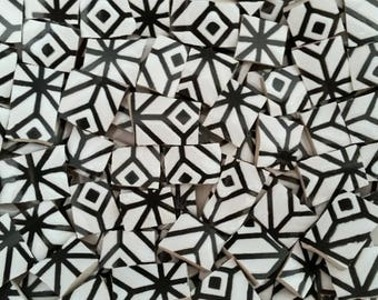 Mosaic Tiles--Geometrical Black  Design -50 pieces.  Ready to Rock your Mosaic