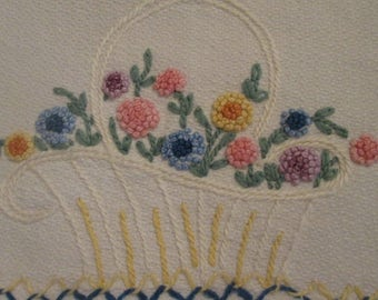 Vintage Cotton Hand Towel - Embroidered Cotton Towel - Flower Basket Embroidery