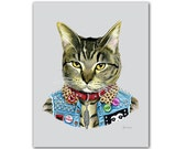 Punk Cat art print  - Pet Portrait - Animals in Clothes - Animal Art - Punk Rock - Tabby Cat - Ryan Berkley Illustration 5x7
