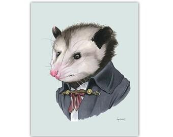 Opossum art print 8x10