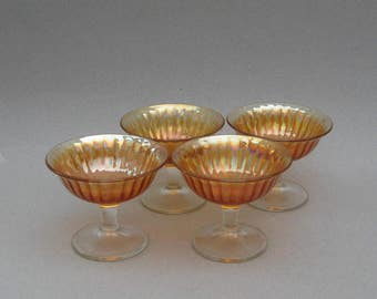 4 Imperial Glass Footed Sherbet Dishes Marigold Carnival Glass Iridescent Lustre Glass Dessert Bowls Smooth Ray Pattern Compote Dish