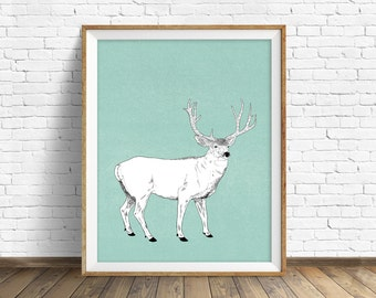 "art print, deer, woodland animals, large art, large wall art, woodland nursery, wall art, art for kids, kids room wall art, animals - ""Buck"""