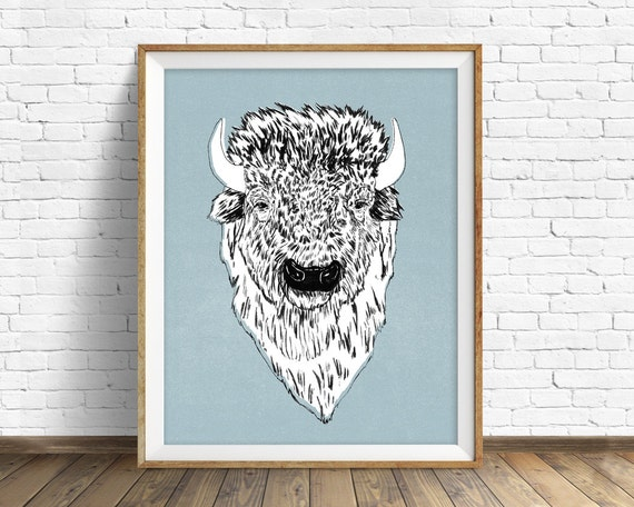 "drawing, bison, buffalo, wall art, large art, large wall art, woodland animals, fine art print, modern, contemporary, art -""Tyson the Bison"""
