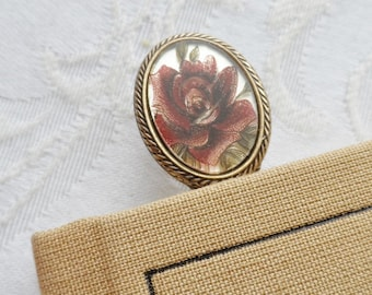 Bookmark. Vintage Glass Cameo made in West Germany,  Aubergine Rose