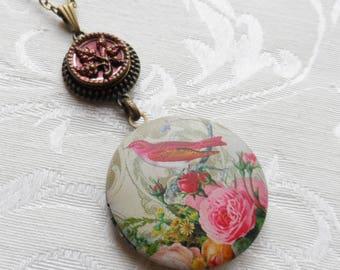 50% Off Antique Button Locket Necklace,Victorian Image