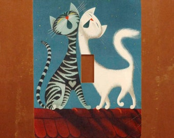 Two Cats -- Vintage Cat Light Switch Cover -- Oversized (Multiple Styles)