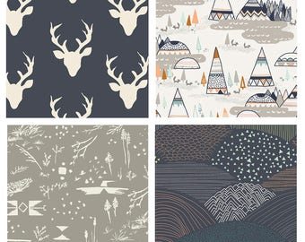 BUNDLE - Indian Summer - Hello Bear - Art Gallery - Bonnie Christine - Sarah Watson - Native American Quilting Fabric - Teepees Deer Navy