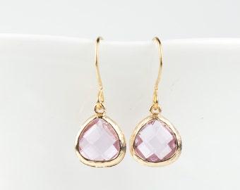 Light Amethyst Gold Dangle Earrings, Tiny June Birthstone Earrings, June Birthstone Gold Earrings, Birthstone Jewelry, Gold Earrings #807