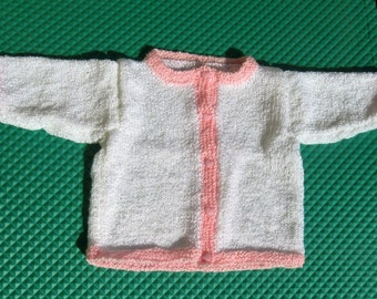 Handknit Pink and White Cardigan for Baby