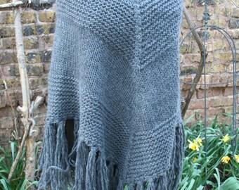 Gray knit poncho fringe hippie boho