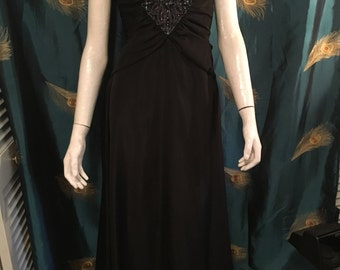 "Mike Benet Formal Black Satin Dress Floor Length Metal Zipper True Vintage Bust30"" Waist 24"""