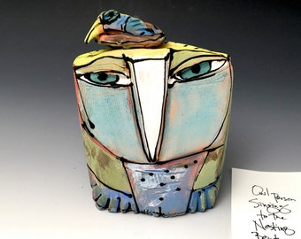 "Owl art, handmade one of a kind ceramic owl art,""Owl Person and the Nesting Rainbow Bird.  Love is All, 4-5/8"" tall"