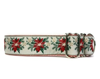 Holiday Poinsetta Wide 1 1/2 inch Adjustable Buckle or Martingale Dog Collar